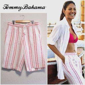 Tommy Bahama White Red stripes Linen Blend Sz S